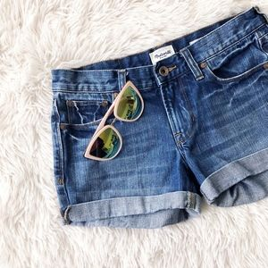 MADEWELL blue jean cuffed low rise shorts